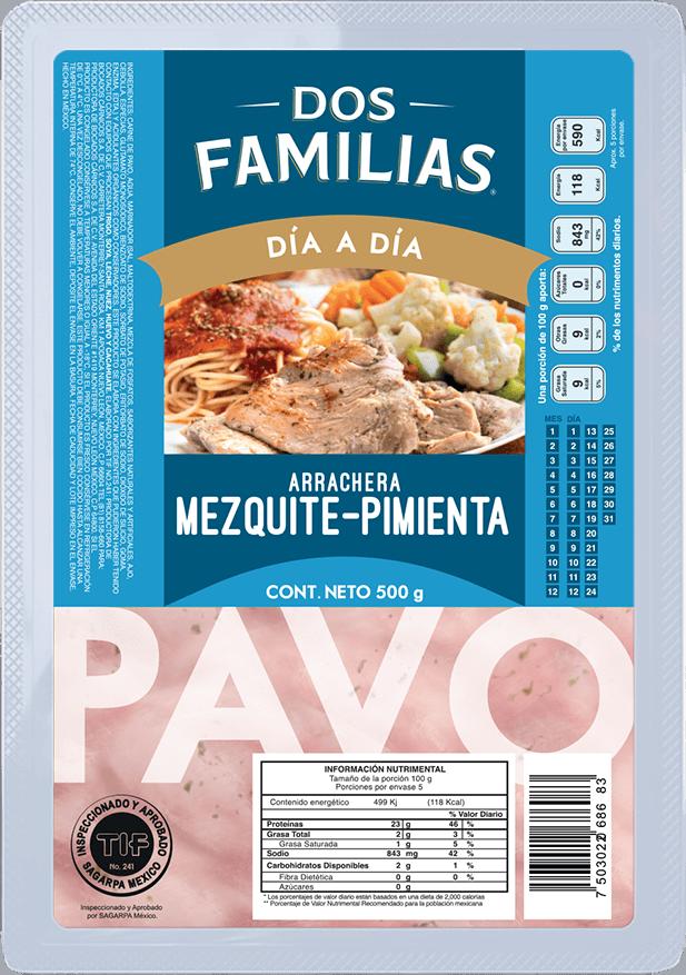 Arrachera de Pavo Mezquite pimienta Dos Familias