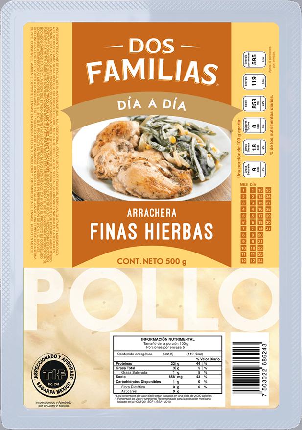 Arrachera de Pollo Finas Hierbas Dos Familias